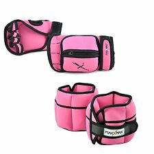 MaxxMMA 5 lbs Adjustable Ankle Weights Pair + 2 lbs Weighted Gloves - 4 colors