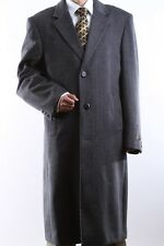 MEN 3 BUTTON WOOL CASHMERE FULL LENGTH GRAY TOPCOAT, L40913C-40917-GRE