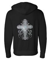 Ladies BLACK Hoody RIBBON STONES STUDS CROSS Hoodie Top Breast Cancer Awareness
