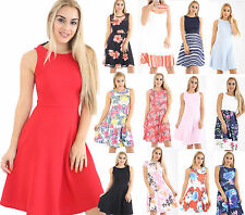 Womens Ladies Mult Colour Floral Print Sleeveless Skater Dress Skirt Top UK 8-24