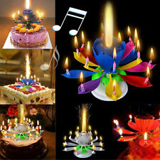 Birthday Cake Candle Romantic Decoration Lotus Flower Magic Blossom Musical Gift