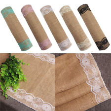 30*270cm Burlap and Lace Table Runner Embroidered Elegant for Wedding Decor BBUS