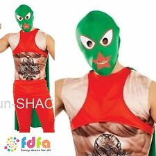 LUCHA LIBRE MEXICAN WRESTLER + CAPE MASK TATTOO Adults Mens fancy dress costume