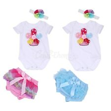 Newborn Baby Girl Floral Romper Outfit Clothes Headband Pants Bloomers Cover Set