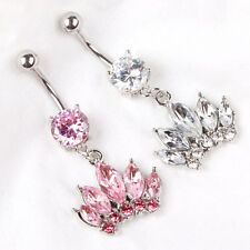 Crown Clear Pink Gem Body Piercing Dangle Button Belly Ring Jewellery Navel Bar