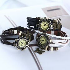 Women Quartz Bracelet Wrist Watch Wrap Around Leather Band Bead Vintage