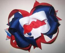 Patriotic Boutique Layered Hair Bow Red White & Blue