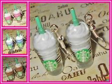 Starbucks Frappuccino Coffee Ice Blended Smoothie Silver Plated Earrings USA