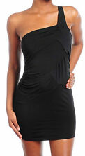 S M L Dress One Shoulder Black Cocktail Club Sexy Stretch Party New Womens Solid