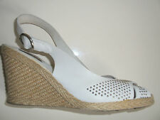DUNE LADIES WHITE LEATHER STUDDED WEDGE HEEL ESPADRILLE SANDALS SIZE 5
