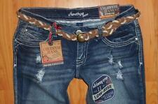 AMETHYST Jeans Juniors Low Rise Distressed Cropped Capri NWT