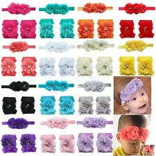 Newborn Baby Girl Lace Chiffon Hair Band + Barefoot Sandals Foot Flower Headband