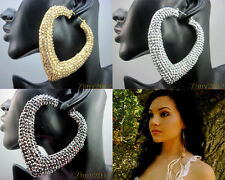 Bling Basketball Wives Inspired Rhinestone Heart Poparazzi Hoop Earrings.ZE059