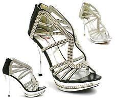 WOMENS EVENING WEDDING PROM PARTY HIGH HEEL PLATFORM DIAMANTE SANDALS SIZE