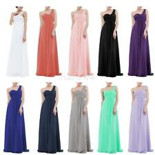 Womens Ladies One-shoulder Chiffon Party Ball Gown Bridesmaid Wedding Long Dress