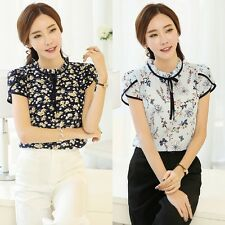 UK Women Lady Chiffon T-shirts Short Sleeve Floral Blouse Casual Tops Plus Size