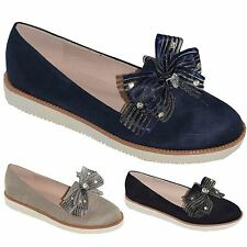 New Womens Faux Suede Flat Slip On Diamante Bow Loafers Casual Shoes Sneakers