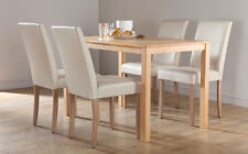 Milton & City Oak Dining Table and 4 6 Leather Chairs Set (Ivory)