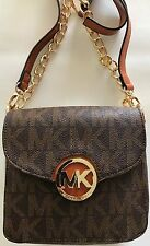 New Michael Kors Fulton Brown Gold PVC MK Logo Signature Small Crossbody Bag