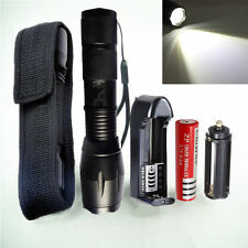 5000lm XM-L T6 Tactical LED Zoomable Flashlight Military Torch 26650/18650+CH