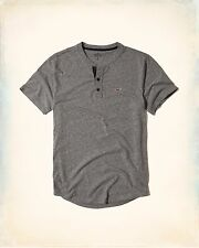 New Hollister Henley Shirt Short Sleeves by Abercrombie & Fitch [Grey][L/XL]