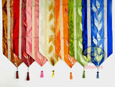"""13""""x78"""" Home Decor SATIN/ORGANZA LEAVES Pattern Style Table Runner & Tassels"""