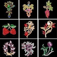 Fashional Lady Rhinestone Flower Cherry Butterfly Brooches Jewelry Wedding Party