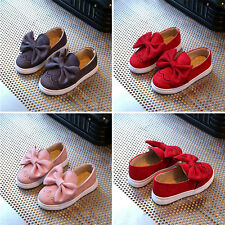 Kids Girls Suede Bowknot Princess Boat Shoes Slip on Soft Flat Moccasins Loafers