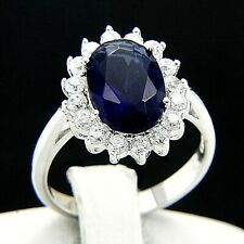 New Womens Engagement Wedding 5.09 CT Sapphire CZ 925 Sterling Silver Ring