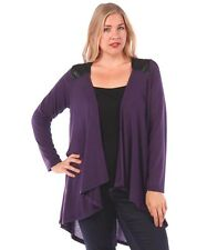 New Women's Plus Size Eggplant Knit Open Cardigan (Sweater) Sizes 1X 2X 3X