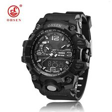 OHSEN Mens Waterproof Watch Sport LED Digital Analog Quartz Military Wristwatch