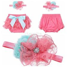 Baby Girls Kids Bloomers Diaper Cover Bowknot  Headband Ruffle Lace Flower Short