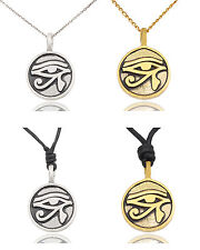 Egyptian Eye of Ra Horus Silver Pewter Gold Brass Charm Necklace Pendant Jewelry