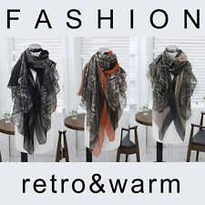 Fashion Retro Women Long Print Scarf Wrap Ladies Shawl Girls Large Yarn Scarves