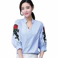 Spring V-neck Floral Embroidery Print Striped Casual Blouse For Women