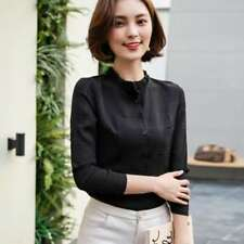 Ruffled Decorated Round Collar Long Sleeve Casual Blouse For Women