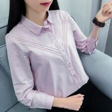 Spring Turn-down Collar Long Sleeve Solid Color Cotton Women Blouse