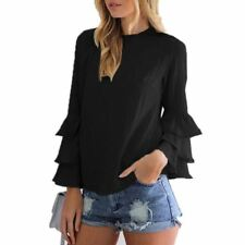Ruffle Decorated Round Collar Long Sleeve Casual Blouse For Women