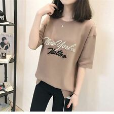 Women Loose Cotton Letter Printed Embroidery O-Neck Collar Short Sleeve T-Shirt