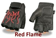 Black Leather FINGERLESS Gloves RED FLAMES Gel Palm Motorcycle Biker Rider