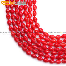 """6x8mm Corkscrew Shape Gemstone Red Coral Beads Strand For Jewelry Making 15"""""""