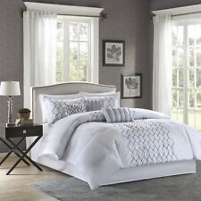 7pc Embroidery Silver Grey Comforter Set Shams Bed Skirt & Pillows
