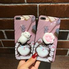 Lovely 3D Squishy Cat Paw Soft Silicone Phone Case Cover For iPhone 6/6S/7 Plus