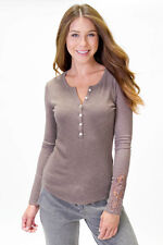 "New PJ SALVAGE ""Ribbed Essentials"" Laser Cut Lace Ribbed Long Sleeve Henley M"