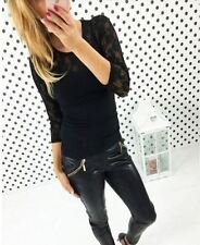 Round Collar Lace Decorated Long Sleeve Casual Blouse For Women
