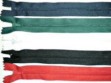 """ZIPS 10"""" 25CM CLOSED END NYLON, X5, VARIOUS COLOURS AVAILABLE"""