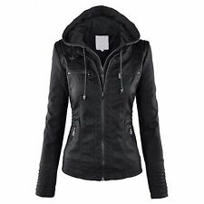 New Style Long Sleeve Pu Leather Material Turn-down Collar Hooded Jacket