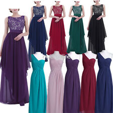 Womens Chiffon Sleeveless Long Evening Party Cocktail Prom Gown Formal Dress New