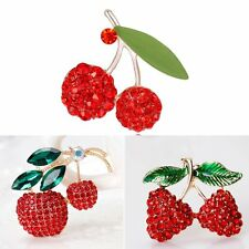 Lovely Gold Plated Crystal Rhinestone Red Fruit Cherry Brooch Pin Women Jewelry