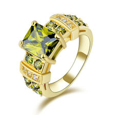 Fashion Size 6-10 Women's Ring GiftOlive Green Peridot 10KT Gold Filled Wedding
